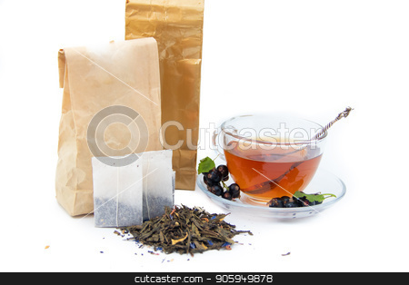 Tea on white background stock photo, Tea on white background and tea bag isolated on white background by alenka2194
