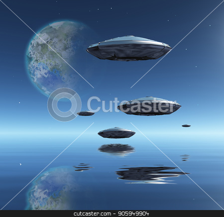 Spacecrafts in Water World stock photo, Flying saucers flies above ocean on water planet. Terraformed moon in the sky by Bruce Rolff