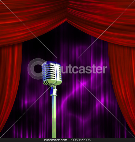 Classic Microphone at the stage stock photo, Classic Microphone with Colorful Curtains by Bruce Rolff