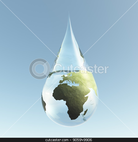 Droplet Africa stock photo, Planet Earth in Water Drop by Bruce Rolff