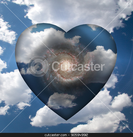 Cloud Heart with Galaxy stock photo, Cloud Heart with Spiral Galaxy Inside by Bruce Rolff