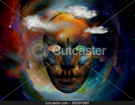 Mask in Space stock photo, Mask with the image of man, hands of a prayer and seashore. Colorful universe on background. by Bruce Rolff
