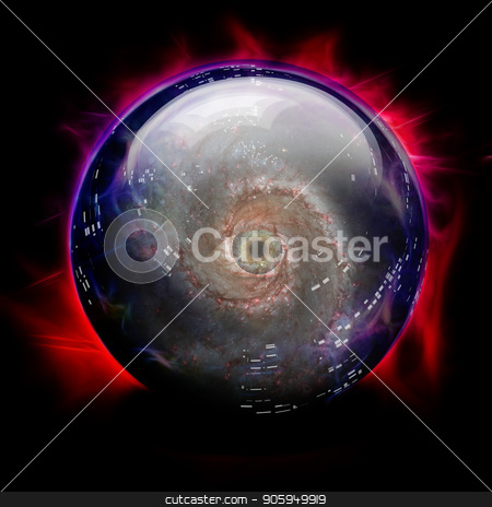 Crystal Ball stock photo, Crystal Ball with Galaxy and Eye by Bruce Rolff