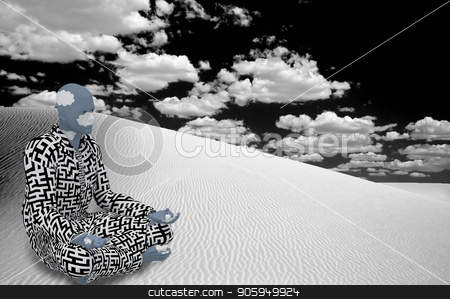 White Desert Zen stock photo, Surrealism. Figure of man in suit with maze pattern sits  in lotus pose in white desert. by Bruce Rolff