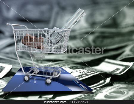 World Trade stock photo, Gun in a cart. US dollars and credit card. by Bruce Rolff