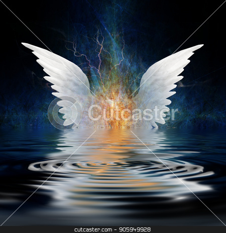 Angel wings stock photo, Surrealism. White wings over water ripples. by Bruce Rolff