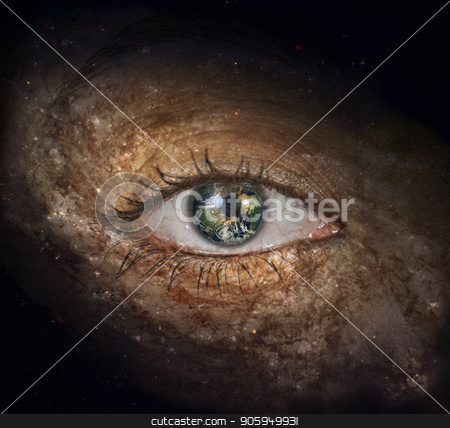 The eye of space stock photo, Surrealism. Woman's eye with galaxies. Planet Earth Iris. by Bruce Rolff