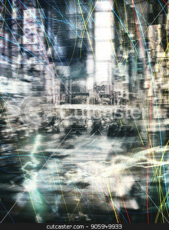 Abstract Times Square stock photo, New York Times Square Night Abstract by Bruce Rolff