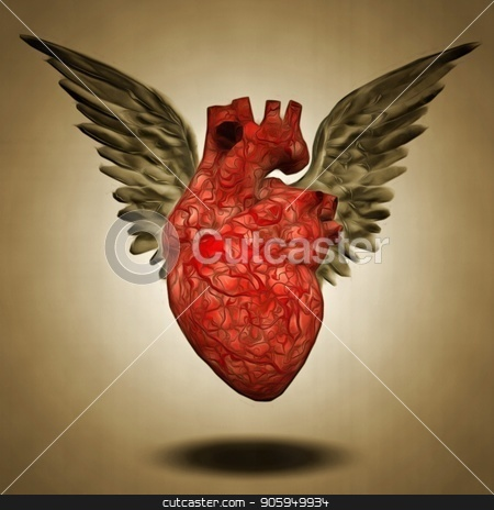 Heart stock photo, Surreal painting. Winged heart. by Bruce Rolff