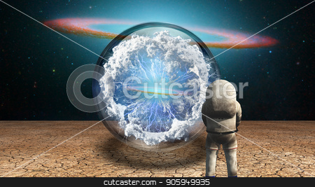 Explorer stock photo, Surrealism. Astronaut stands in arid land before crystal ball with electricity charge and clouds. by Bruce Rolff