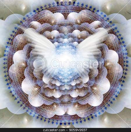 Angel Mandala stock photo, Shining wings in a center of Indian mandala. Multi-layered spaces representing endless dimensions. by Bruce Rolff