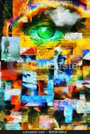 Existence stock photo, Complex surreal painting. Geomertic elements, eye of God, flames of fire and chess figures. Elements of human counsciousness. by Bruce Rolff