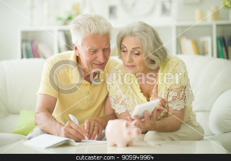old woman with piggy bank stock photo, portrait of happy senior couple with piggy bank by Ruslan Huzau