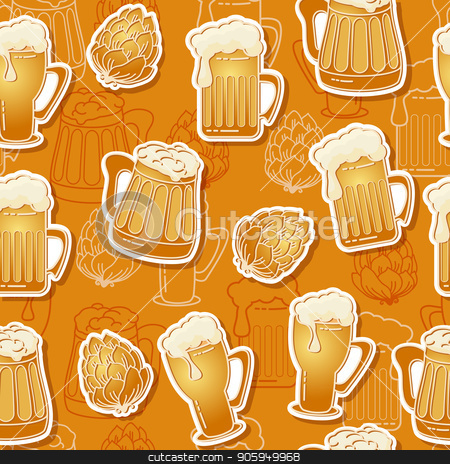 Beer seamless pattern. Vector background. stock vector clipart, Beer seamless pattern. Vector background.  Graphic texture contains images of beer mugs, beer glasses and hop on brown  background. by VeYe