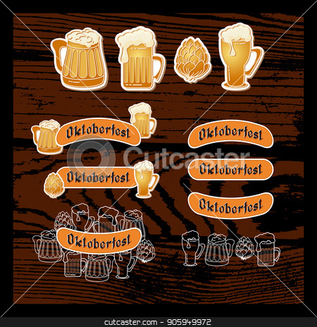 Set of stickers for Oktoberfest. Vector. stock vector clipart, Set of stickers for Oktoberfest. Beer mugs and handwritten word Oktoberfest isolated on wooden background. Retro illustration. Vector Emblem. Graphic logo. by VeYe