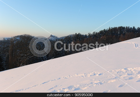 Winter panorama stock photo, Winter panorama in the Czech Switzerland with snow and frost by Ondrej Vladyka