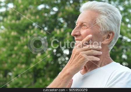 senior man in the park stock photo, happy senior man in the park in summer by Ruslan Huzau