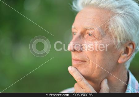 portrait of thoughtful senior man stock photo, portrait of thoughtful senior man with hand on chin   in  park by Ruslan Huzau