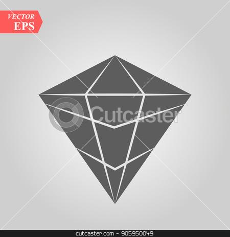 Diamond Icon Vector. Simple flat symbol. Perfect Black pictogram illustration on white background. stock vector clipart, Diamond Icon Vector. Simple flat symbol. Perfect Black pictogram illustration on white background. eps 10 by elnurbabayev