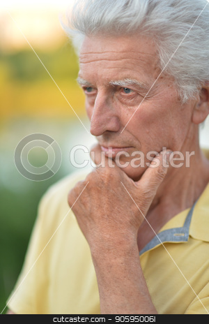portrait of thoughtful senior man stock photo, portrait of thoughtful senior man with hand on chin   in  park by Ruslan Huzau