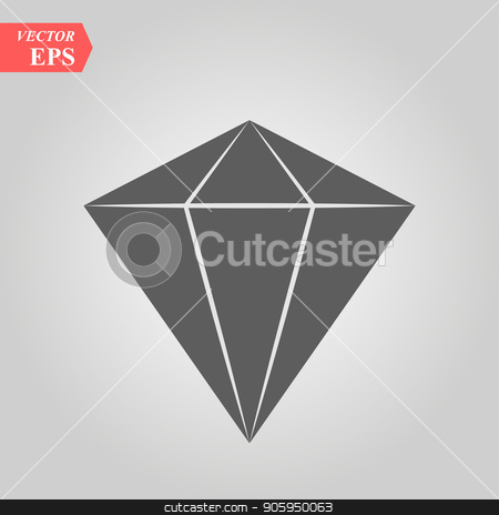 Diamond icon in trendy flat style isolated on background. Vector illustration, EPS10. stock vector clipart, Diamond icon in trendy flat style isolated on background. Vector illustration, EPS 10. by elnurbabayev