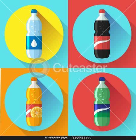 set of pictures plastic bottle of coca cola, sprite, fantasy orange soda Flat vector illustration stock vector clipart, set of pictures plastic bottle of coca cola, sprite, fantasy orange soda. Flat vector illustration. by MarySan