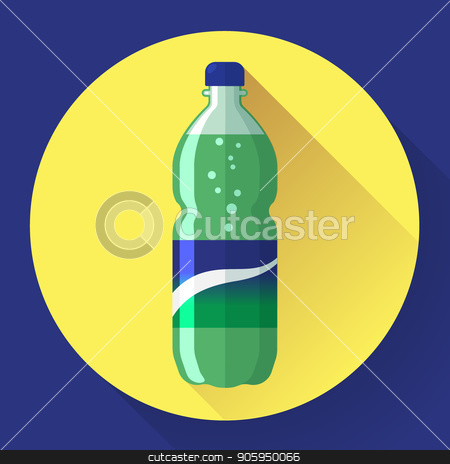 Bottle of soda with green lable, vector illustration. Flat stiyle. stock vector clipart, Bottle of soda with green lable, vector illustration. Flat stiyle by MarySan