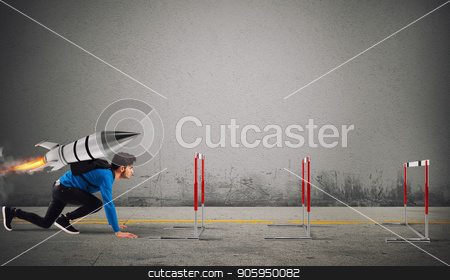 Student overcomes obstacles of his studies at top speed with a rocket stock photo, Student overcomes obstacles of his studies at top speed with a fast rocket by Federico Caputo