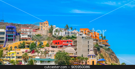 Colorful Hilltop Condos stock photo, Colorful condos on a hill on the coast by Darryl Brooks