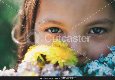 Portrait close up of a girl with bouquet stock photo, Portrait close up of a girl with bouquet by aaalll3110