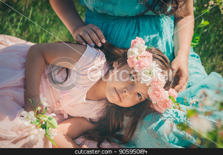 pregnant woman and little girl: family photo outdoors. fashion for the whole family stock photo, pregnant woman and little girl: family photo outdoors. fashion for the whole family by aaalll3110