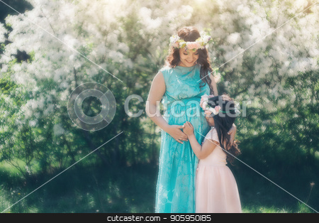 pregnant woman and little girl: family photo outdoors. stock photo, pregnant woman and little girl: family photo outdoors. by aaalll3110