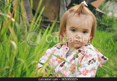 Portrait of little girl in a green grass stock photo, Portrait of little girl in a green grass by aaalll3110