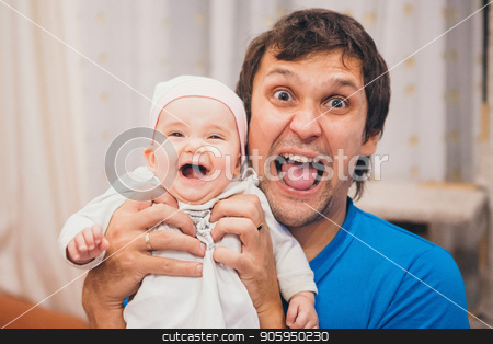 baby on the hands of father with open mouth. man and child scream stock photo, baby on the hands of father with open mouth. man and child scream by aaalll3110