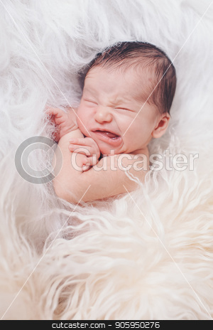 Portrait of newborn baby on a white background. the child makes a face stock photo, Portrait of newborn baby on a white background. the child makes a face by aaalll3110