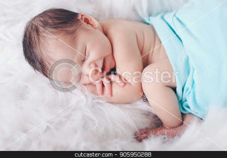 Portrait of newborn baby on a white background. stock photo, Portrait of newborn baby on a white background. by aaalll3110