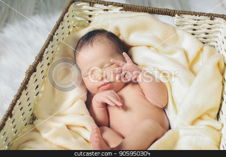 A little child lies in the basket stock photo, A little child lies in the basket by aaalll3110