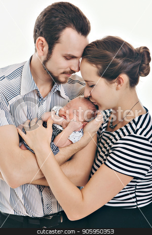 newborn baby lying on the hands of parents on a white background. stock photo, newborn baby lying on the hands of parents on a white background. by aaalll3110