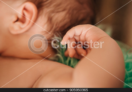 newborn baby: ear and hand close up stock photo, newborn baby: ear and hand close up by aaalll3110