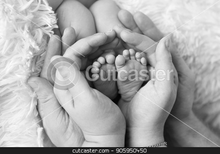 baby feet close up in white and balck colours stock photo, baby feet close up in white and balck colours by aaalll3110