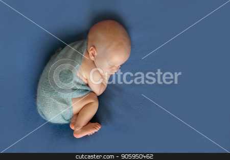 newborn baby lying on a blue background. Imitation of a baby in the womb. beautiful little child sleeping lying on her tummy. Portrait of newborn stock photo, newborn baby lying on a blue background. Imitation of a baby in the womb. beautiful little child sleeping lying on her tummy. Portrait of newborn by aaalll3110