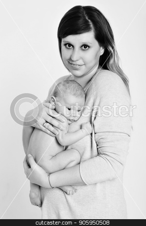 portrait of newborn baby lying on the hands of parents. Mother and son stock photo, portrait of newborn baby lying on the hands of parents. Mother and son by aaalll3110