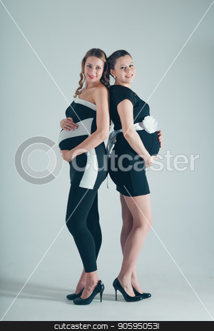 two pregnant women in black and white dresses on white background stock photo, two pregnant women in black and white dresses on white background by aaalll3110