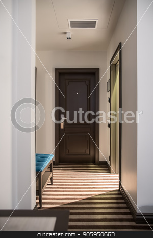 Stylish hotel room stock photo, Illuminated corridor in a hotel room with light walls and a striped floor. There is a brown entrance door, table and a blue stand. Vertical. by bezikus