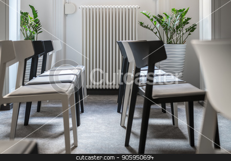 Modern conference hall stock photo, Rows of black and white chairs in the conference room with white walls and a gray floor. There are green plants in the pots behind them. Closeup horizontal photo. by bezikus