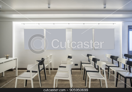 Modern conference hall stock photo, Contemporary conference hall with white walls. There are many light and dark chairs, table, luminous lamps, door. Horizontal. by bezikus