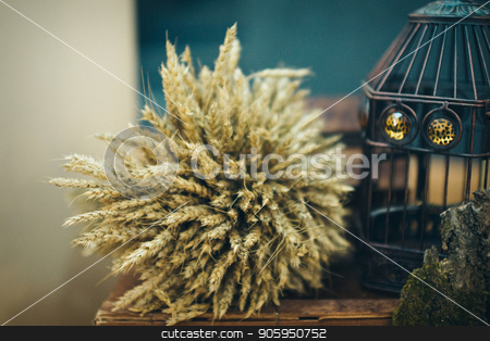 a sheaf of wheat and a bird cage stock photo, a sheaf of wheat and a bird cage by aaalll3110
