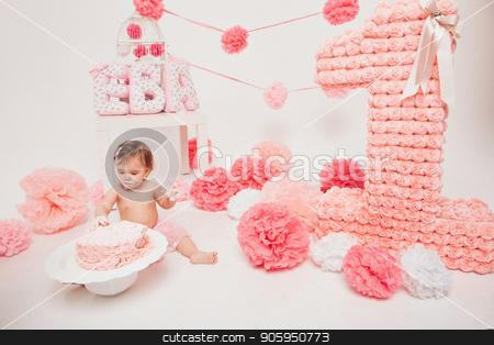 little baby girl eating pimk cake isolated white background stock photo, little baby girl eating pimk cake isolated white background by aaalll3110