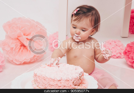 little baby girl eating pimk cake isolated white background stock photo, little baby girl eating pimk cake isolated white background by aaalll3110
