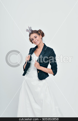 bride with a beautiful hairdo, on a white background stock photo, bride with a beautiful hairdo, on a white background by aaalll3110